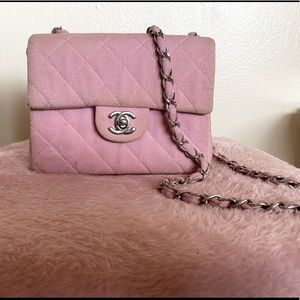 Auth vintage Chanel pink cotton matelasse flap bag